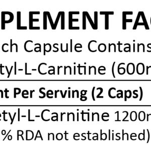 Acetyl-L-Carnitine 100 Capsules (600mg)