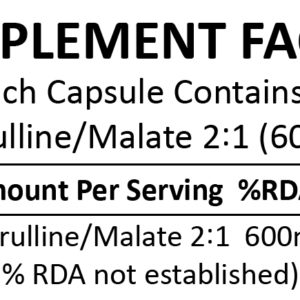 L-Citrulline Malate 2:1 Powder 150 Capsules (600mg)