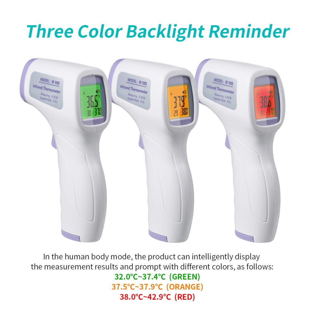 Digital Infrared Thermometer 3 Colour Backlight